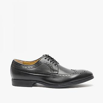 Steptronic Francis Mens Leather Wide Fit Brogue Shoes Black
