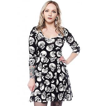 Sourpuss Clothing Skull Duggery 3/4 Sleeve Skater Dress