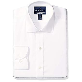 "BUTTONED DOWN Men's Slim Fit Spread-Collar Micro Twill Non-Iron Dress Shirt, White, 15"" Neck 33"" Sleeve"