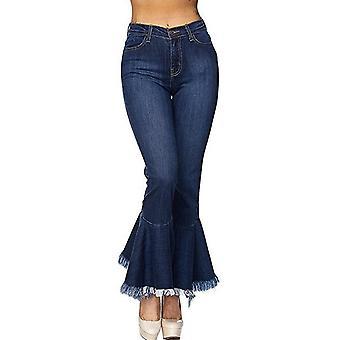 Vintage stretchig fransad flare jeans