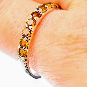 Faceted Citrine Ring Size 11 (925 Sterling Silver)  - Handmade Boho Vintage Jewelry RING25670