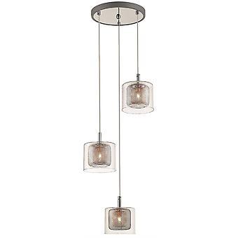 Lenteverlichting - 3 licht cluster hanger mesh chroom, koper, glas, G9