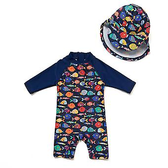 Bonverano Baby Boy One Piece UPF 50+ Sun Protection 3/4 Sleeves Zip Sunsuit