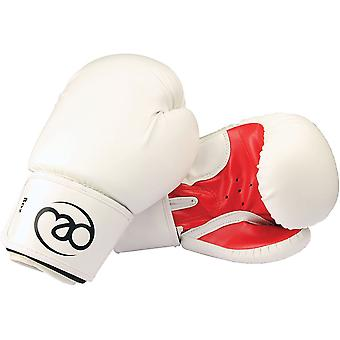 Fitness Mad Womens Fit Synthetic Leather Sparring Gloves 8oz White/Red