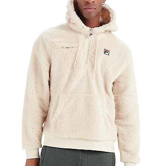 Fila Vintage Krish Lm037855 Sherpa Soft Snuggle Overhead Hood Top - Ecru