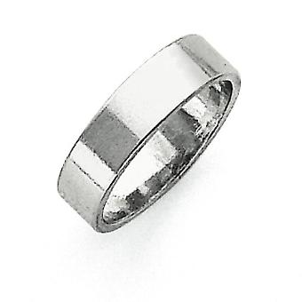 925 Sterling Silver Solid Polished Engravable Lightweight 5mm Flat Band Ring - Ring Size: 4 to 13.5