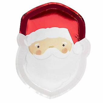 Santa Shaped Paper Plates Foiled Christmas x 8