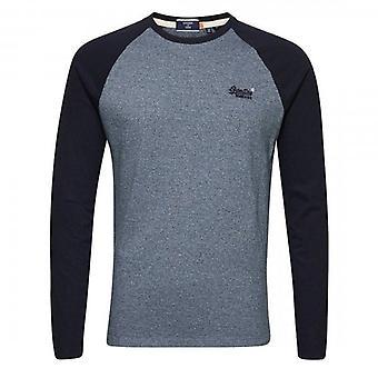 Superdry OL LS Baseball T-Shirt Blue Grit 3XJ