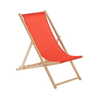 Traditional Adjustable Wooden Beach Garden Deck Chair - Red