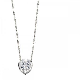 Beginnings Sterling Silver 10mm Cubic Zirconia Heart Necklaces N3843C