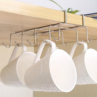 Support de rangement de cuisine en acier inoxydable- support de tasse, crochet suspendu d'armoire