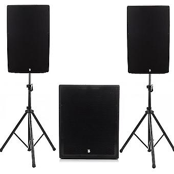 """Big gig rig 42 - active 1800w rms 15"""" tops and 18"""" subwoofer with bluetooth & tripod stands"""