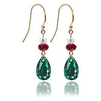 Ah! Sieraden Emerald Pear met Siam en Clear Briolette Kristallen van Swarovski Drop Oorbellen, Gestempeld 925.