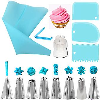 14pcs Reusable Icing Piping Nozzles Set - Pastry Bag, Scraper, Flowers, Cream