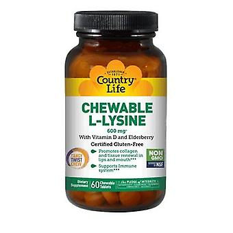 Country Life Chewable L-Lysine, 600 mg, 60 Tabs