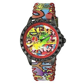 Rebel Women-apos;s RB122-6081 Dumbo Graffiti Dial Imprimé Montre-bracelet en cuir