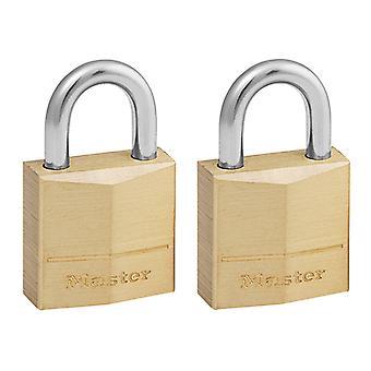 Master Lock Solid Brass 20mm Padlock 3-Pin - Keyed Alike x 2 MLK120T