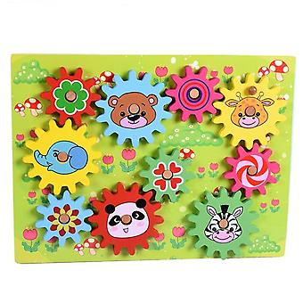Animal Design Gear-rotary Combination Game,  Wooden Puzzle