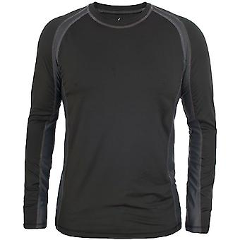 Trespass Mens Explore Long Sleeve Crew Neck Baselayer Compression Top - Czarny