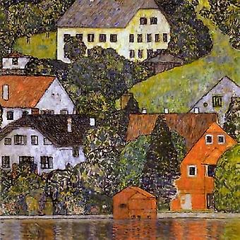 Huse i Unterach på søen Atter 1916 plakat Print af Gustav Klimt