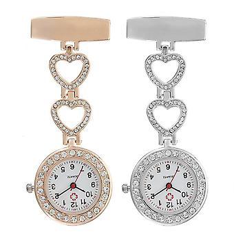 الفاخرة الفولاذ المقاوم للصدأ حزام كريستال القلب الطلب كوارتز فوب الطبية جيب ممرضة