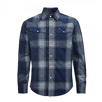 G-Star Raw 3301 Slim Navy Corduroy Check Shirt D18165