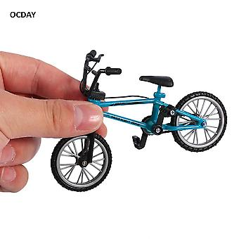 Ocday Fingerboard Bicycle With Brake Rope Blue Simulation Alloy Finger Bmx Bike