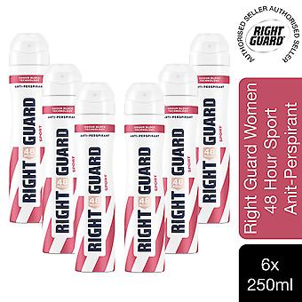 Right Guard 48H Total Defence 5 Women's Anti-Perspirant Sport, 6pk of 250ml