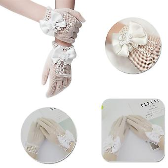 Kids Cream Lace Fishnet Gloves, Communion Party Flower Bride Accessories,