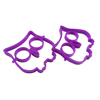 4pcs Reusable Silicone Emoji Pancake Molds and Egg Rings Purple Owl