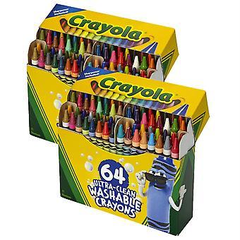 Crayones lavables ultra-limpios - tamaño regular, 64 por paquete, 2 paquetes