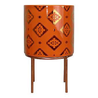 Kasbah Design Ceramic Planter, Orange
