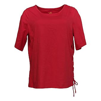 Belle By Kim Gravel Women's Top TripleLuxe Knit Side Lace-Up Red A350458