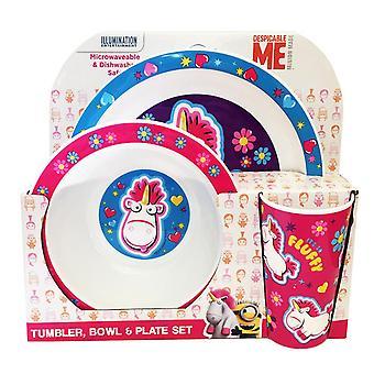 Despicable Me Fluffy Kids/Childrens Tableware Set