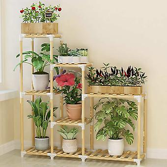 Wooden Flower Rack Plant Stand Multi-layer Shelves Balcony Coffee Bar Indoor