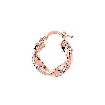 Jewelco London Ladies Rose Gold-Plated Sterling Silver # Square Tube Twist Moondust Hoop Brincos 19mm
