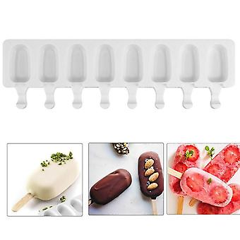 8/4 Hole Silicone Ice Cream Mould Ice Cube Tray Popsicle Barrel Diy Mold Dessert Ice Cream Mold with Popsicle Stick