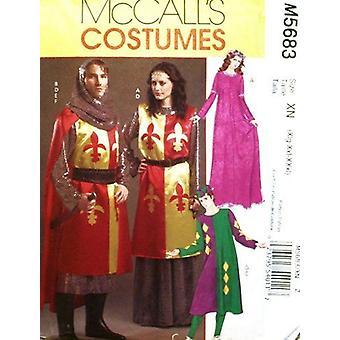 McCalls نمط الخياطة 5683 يفتقد رجال الأزياء في العصور الوسطى حجم XL-XXXL