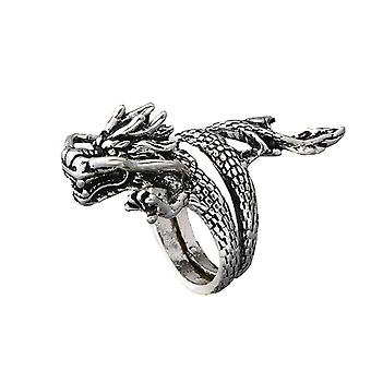 Retro Dragon Ring Alloy Open Adjustable Finger Ring For Men
