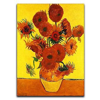 Still life maljakko viisitoista auringonkukkaa 3 kangasta