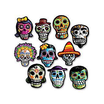 10 Mini kartonnen decoraties Dia de los Muertos 12 x 9 cm
