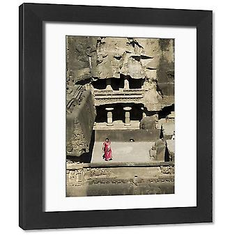 The Ellora Caves. Framed Photo. The Ellora Caves, temples cut into solid rock, near Aurangabad,.