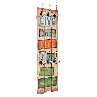 "vidaXL seinä vaatekaappi 6 koukut 120 x 40 cm ""LIVE LIFE"""