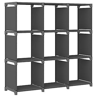 vidaXL Cube shelf 9 compartments Grey 103x30x107.5 cm fabric