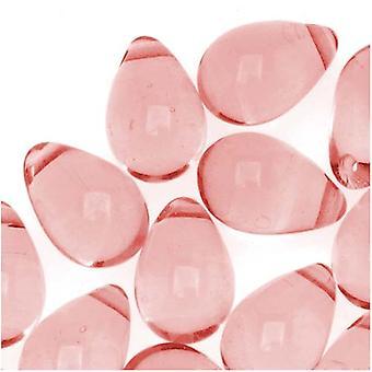 Czech Glass Beads 9mm Teardrop Medium Rose Pink (50)