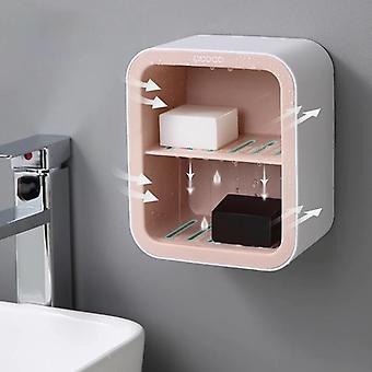 Ontwerp aan de muur gemonteerd zeep houder schotel doos badkamer drainage draagbare douchebak opslag (roze)
