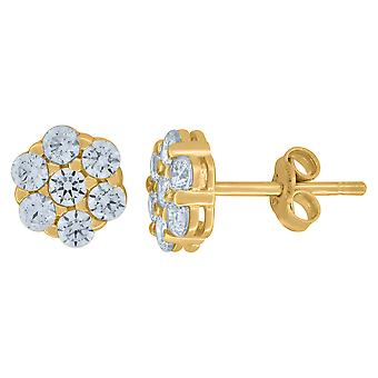10k Yellow Gold Mens CZ Cubic Zirconia Simulated Diamond Flower Stud Earrings Jewelry Gifts for Men