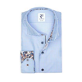 R2 Hidden Button Down Collar Long Sleeved Shirt Blue Check