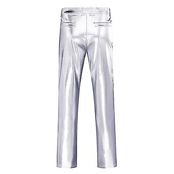 Xxl silver mens casual night club metallic moto style flat front faux leather pants x4916