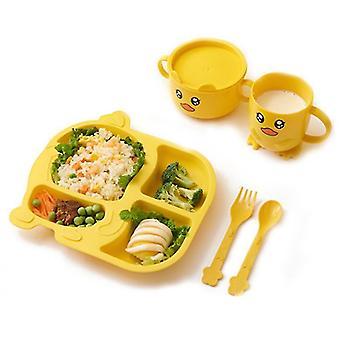 Yellow children's tableware five-piece set of creative cartoon wheat straw environmental protection x3542